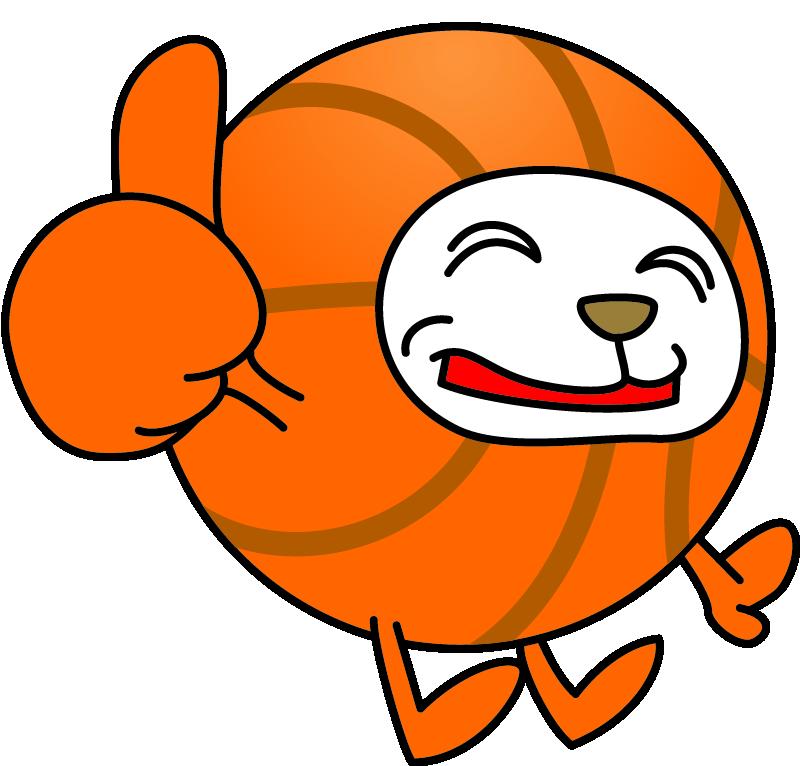 無料バスケットボールイラストフリー素材のキャラクターボールマルコロ